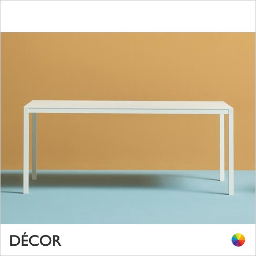 A1 Kuadro Rectangular Table with a Chrome, Brushed Steel or Powder-Coated Frame and a 20mm Laminate Top, 4 Sizes - In Designer Neutral Tones - Décor for Business