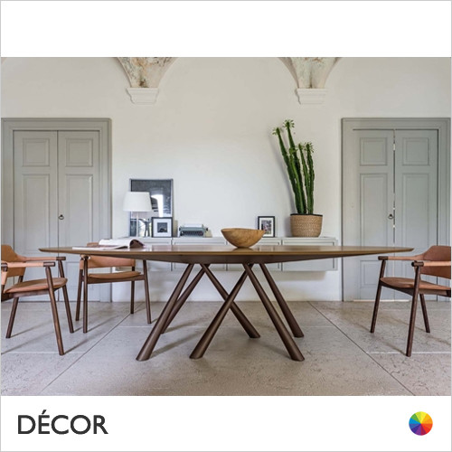 A1 Forest Dining Table Featuring a 280cm Oval Top in Designer Wood Veneers & Marble Effect Crystal Ceramics - Décor for Home