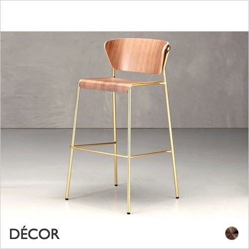 1A1 Lisa Bar Stool with a Wood Veneer Seat & Backrest, Bar & Counter Height  - In a Range of Wood Stains & Metal Frame Finishes - Décor for Home & Business