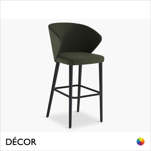 Ellis Bar Stool with Tapered Wooden Legs in Designer Fabrics & Eco Leathers, Bar & Counter Heights - Made for You - Décor for Home & Business