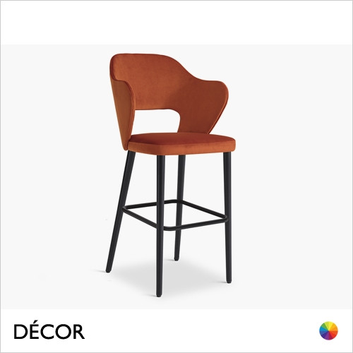 1A1 Quinn Bar Stool with Tapered Wooden Legs in Designer Fabrics & Eco Leathers, Bar & Counter Heights - Made for You - Décor for Home