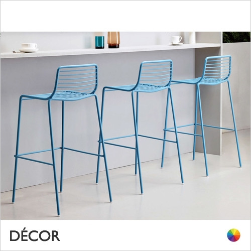 Summer Stackable Bar Stool, Bar Height, Coated Steel - In Designer Colours & Neutral Tones - Décor for Business
