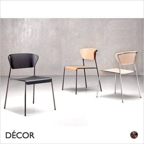 1A1 Lisa Dining Chair with a Wood Veneer Seat & Backrest  - In a Range of Wood Stains & Metal Frame Finishes - Décor for Home