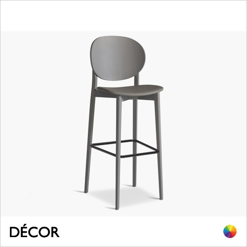 Coco Bar Stool with a Wooden Backrest and Tapered Wooden Legs in Designer Fabrics & Eco Leathers  - Made for You - Décor for Home