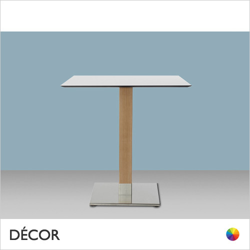 1A1 Tiffany Natural Square Dining Table Base with a Square Column in Natural or Wenge Stained Beech on a Satin Steel Base - Add Square or Round Compact Laminate Tops in a Range of Sizes & Finishes - Décor for Business