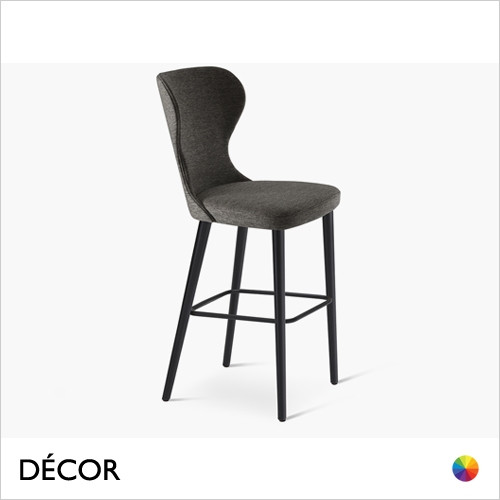 Sati Bar Stool with Tapered Wooden Legs in Designer Fabrics & Eco Leathers, Bar & Counter Heights - Made for You - Décor for Home & Business