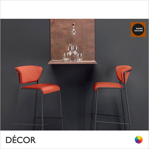 Lisa Upholstered Bar Stool, Satin Brass, Black Nickel, Anthracite & Chrome - In Designer Fabrics & Classic Eco Leathers - Made for You - Décor for Home &  Business
