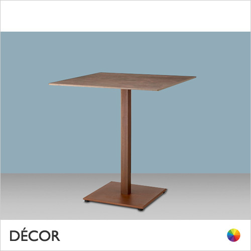 11A1 Tiffany Square Dining Table Base with a Slim Square Column in Satin, Corten Effect & Powder-Coated Steel - Add Square or Round Compact Laminate Tops in a Range of Sizes & Finishes - Décor for Business