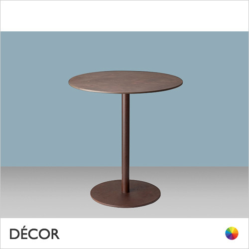 11A1 Tiffany Round Dining Table Base with a Slim Round Column in Satin, Corten Effect & Powder-Coated Steel - Add Round or Square Compact Laminate Tops in a Range of Sizes & Finishes - Décor for Business