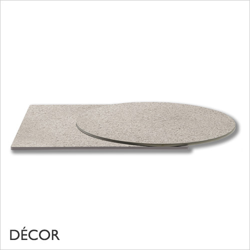 C1 Natural Light Granite Effect Solid Laminate Table Top, 10mm Thick - Square, Round & Rectangular - Décor for Business