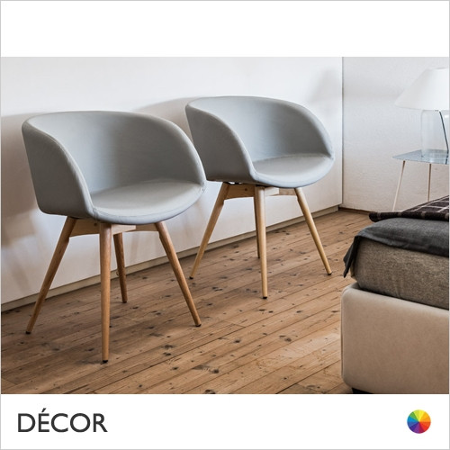 B2 Sonny Dining Chair with High Wrap-Around Armrests & Tapered Wooden Legs - In Designer Fabrics & Eco Leathers - Made for You - Décor for Home