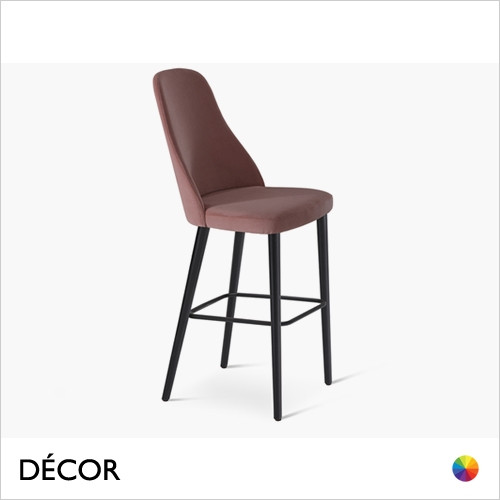 Anya Bar Stool with Tapered Wooden Legs