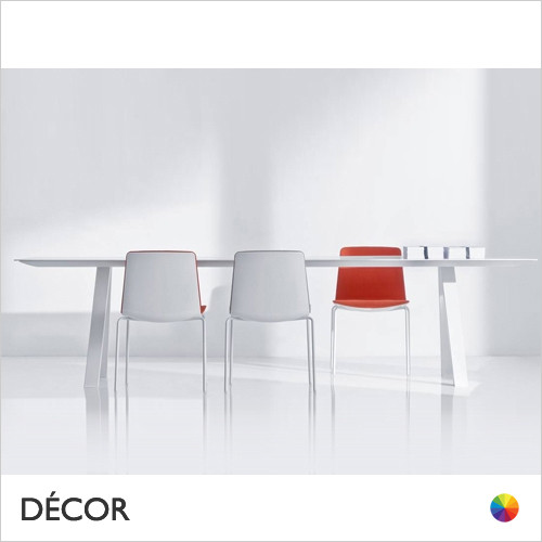 Arki Rectangular Dining Table with a White Powder-Coated Frame and a White 8mm Compact Laminate Top, 6 Sizes - Décor for Business