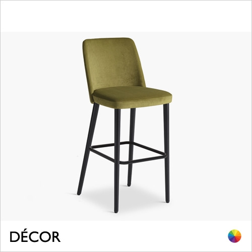 1A1 Tam Bar Stool with Tapered Wooden Legs in Designer Fabrics & Eco Leathers, Bar & Counter Heights - Made for You - Décor for Home & Business