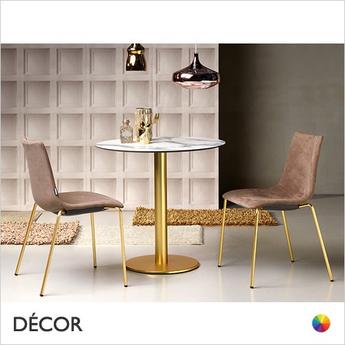 1A1 Zebra Pop Upholstered Dining Chair, Satin Brass, Anthracite & Chrome - In Designer Woven Fabrics & Classic Eco Leathers - Made for You - Décor for Business