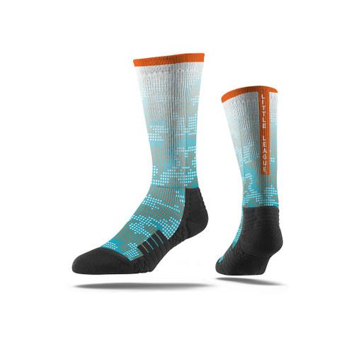 6-13 Turquoise/Orange Crew Sock View Product Image