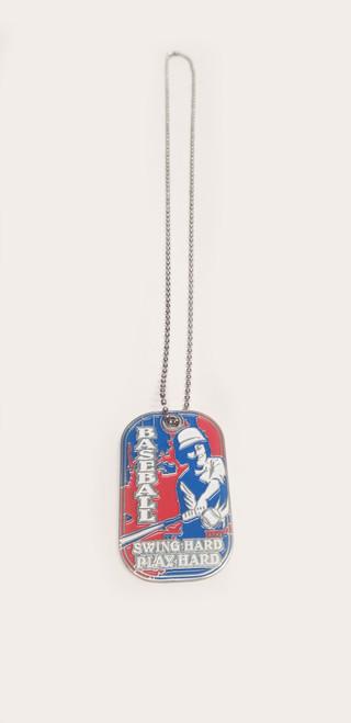 """""""Swing Hard, Play Hard"""" Baseball Dog Tag View Product Image"""