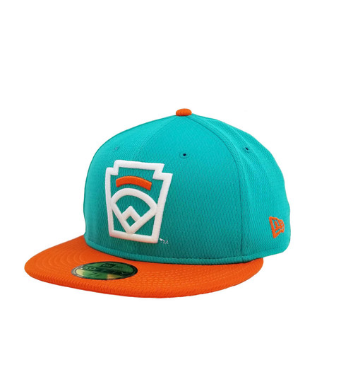 New Era On-Field 59FIFTY Orange Arch Teal Fitted Cap View Product Image
