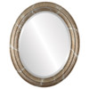 Beveled Mirror - Philadelphia Oval Frame - Champagne Silver