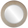 Beveled Mirror - Avenue Round Frame - Burnished Silver