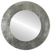Flat Mirror - Ashland Circle Frame - Silver Leaf with Brown Antique