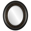 Beveled Mirror - Imperial Oval Frame - Matte Black with Gold Lip