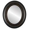 Flat Mirror - Imperial Oval Frame - Matte Black with Gold Lip