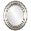 Beveled Mirror - Lancaster Oval Frame - Silver Leaf with Brown Antique