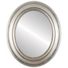 Flat Mirror - Lancaster Oval Frame - Silver Leaf with Brown Antique