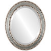 Beveled Mirror - Monticello Oval Frame - Silver Leaf with Brown Antique
