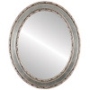 Flat Mirror - Monticello Oval Frame - Silver Leaf with Brown Antique