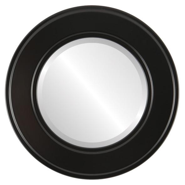Beveled Mirror - Montreal Round Frame - Matte Black