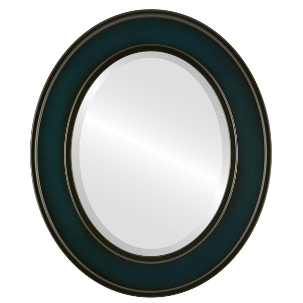 Beveled Mirror - Montreal Oval Frame - Royal Blue