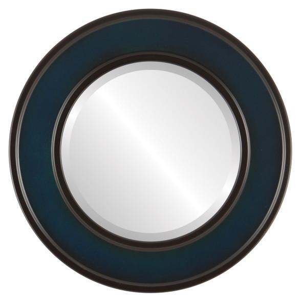 Beveled Mirror - Montreal Round Frame - Royal Blue