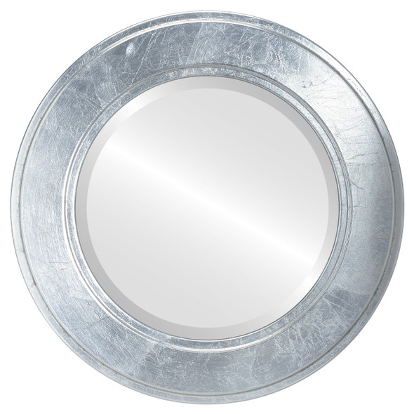 Beveled Mirror - Montreal Round Frame - Silver Leaf with Black Antique