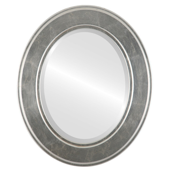 Beveled Mirror - Montreal Oval Frame - Silver Leaf with Brown Antique