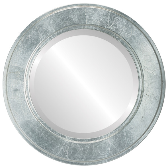 Beveled Mirror - Montreal Round Frame - Silver Leaf with Brown Antique