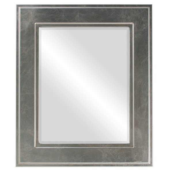 Beveled Mirror - Montreal Rectangle Frame - Silver Leaf with Brown Antique