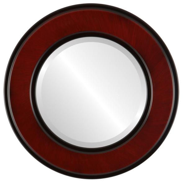Beveled Mirror - Montreal Round Frame - Vintage Cherry