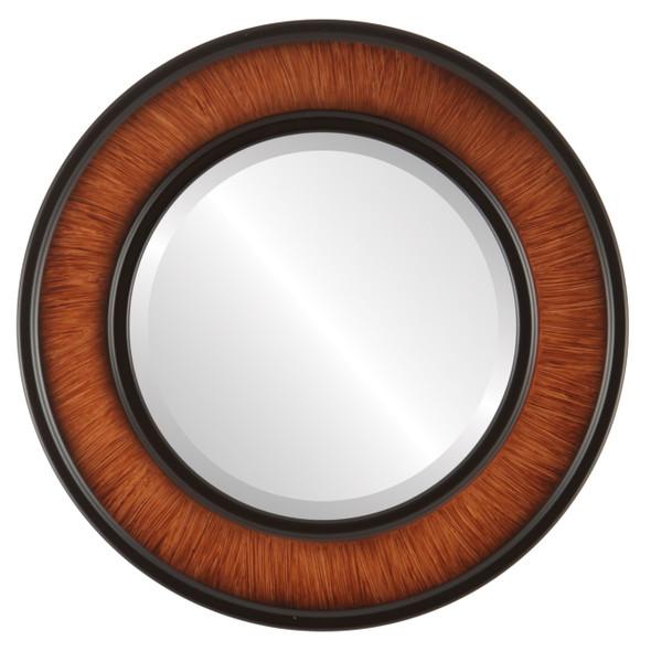 Beveled Mirror - Montreal Round Frame - Vintage Walnut