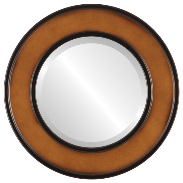 Beveled Mirror - Montreal Round Frame - Walnut
