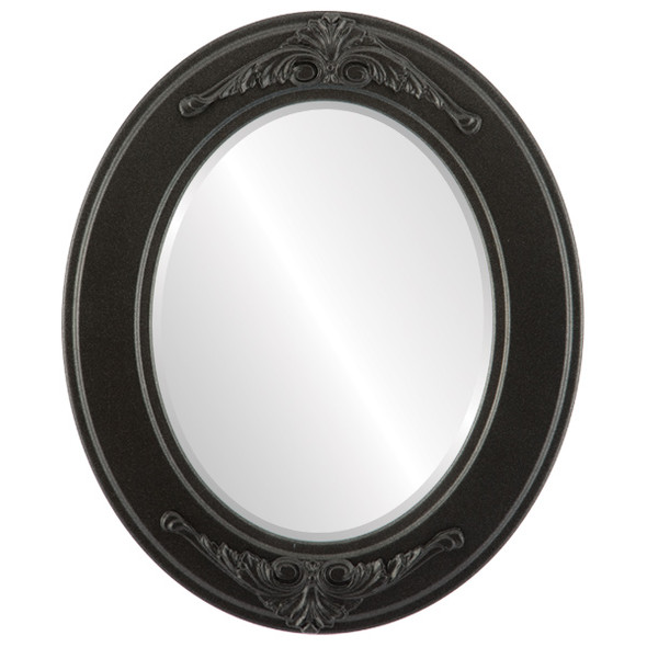 Beveled Mirror - Ramino Oval Frame - Black Silver