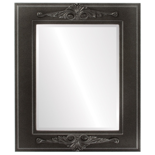 Beveled Mirror - Ramino Rectangle Frame - Black Silver