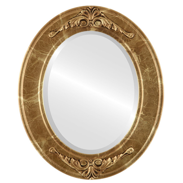 Beveled Mirror - Ramino Oval Frame - Champagne Gold