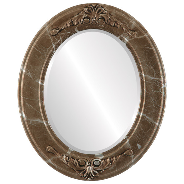 Beveled Mirror - Ramino Oval Frame - Champagne Silver