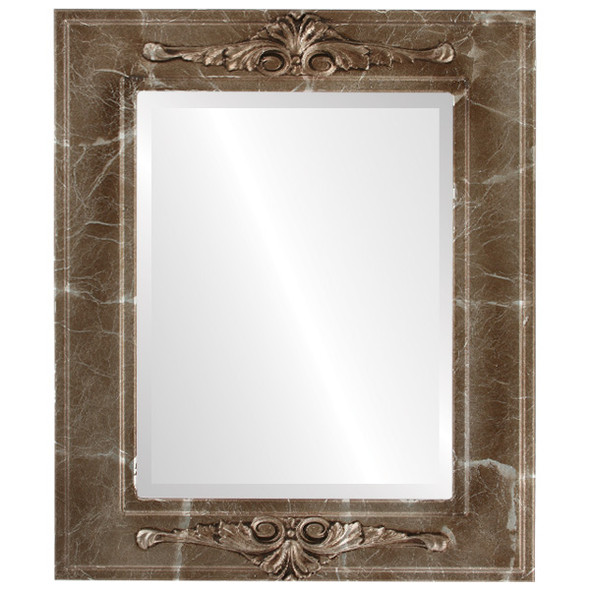 Beveled Mirror - Ramino Rectangle Frame - Champagne Silver
