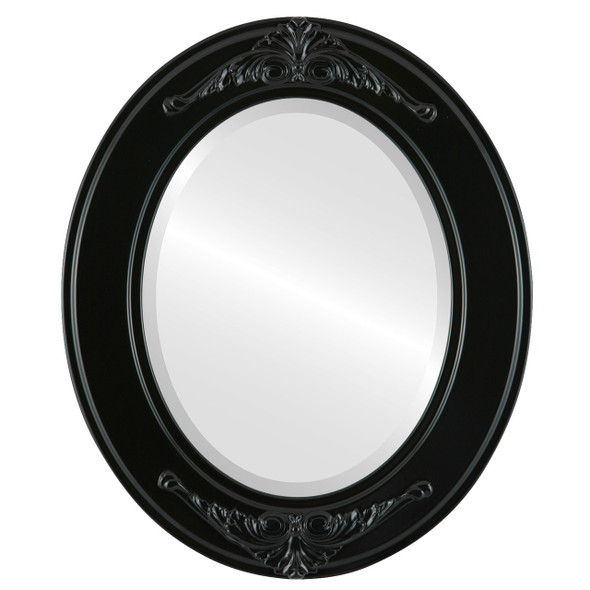 Beveled Mirror - Ramino Oval Frame - Gloss Black