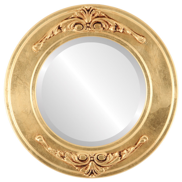 Beveled Mirror - Ramino Round Frame - Gold Leaf