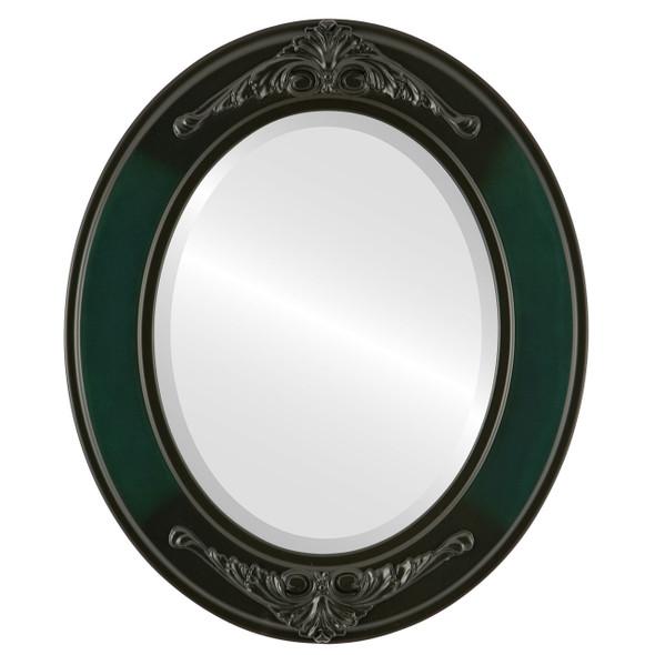 Beveled Mirror - Ramino Oval Frame - Hunter Green