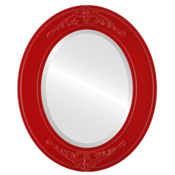Beveled Mirror - Ramino Oval Frame - Holiday Red